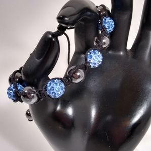Bracelet Black Metallic Blue Textured Handcrafted